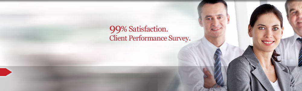 99% satisfaction. Client performance survey